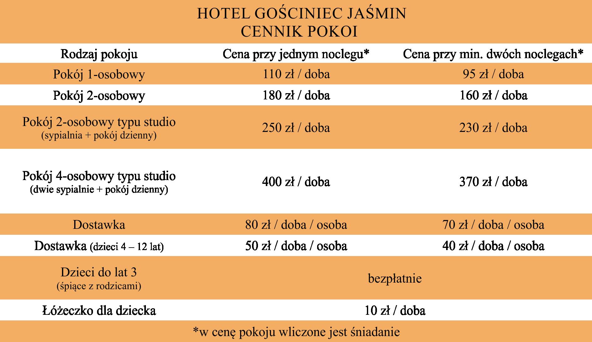 cennik hotel
